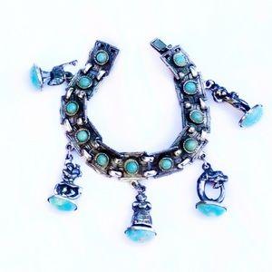 Vintage Sterling Silver & Turquoise Charm Bracelet